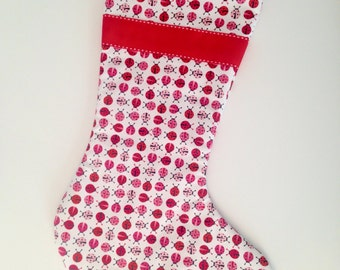 Made to Order - Lady Bug Christmas Stocking with Red Ribbon