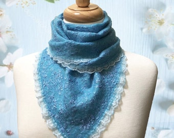 Nunofelted felting Bactus baktus triangle Scarf Light Blue Merino Wool Silk Viscose Lace Gift for any occasion Mother's Day gift