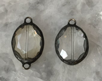 """Soldered Crystal Pendant, Oval, Large 1.25"""" Pendant OR Connector, Champagne OR Clear, Handmade"""