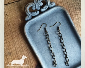DOLLAR DEAL! Linked. Dangle Earrings -- (Boho Chic, Long Earrings, Rustic Chic, Vintage Style, Chain Earrings, Antiqued Brass, Gift Under 5)