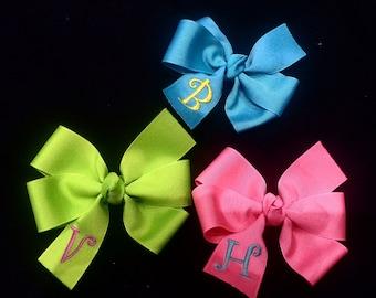 Monogrammed Hair Bow -  Personalized Hair Bow -  Initial Bow - Monogrammed Gift -  Personalized Gift - Girls  Hair Bow - Groovy Gurlz