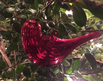 Fluted Glass Blown Red Cardinal Mercury Christmas Ornament Window Hanger