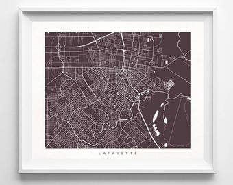 Lafayette Map, Louisiana Print, Lafayette Poster, Louisiana Art, Gift For Her Decorations, Giclee, Wedding Gift, Office Decor, Gift For Her