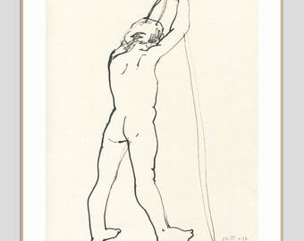 Male Nude ORIGINAL line drawing of a man - ink and woodpen drawing - minimalist drawing male nudity - figure studies by Catalina