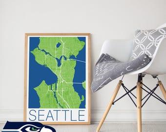 Seattle Seahawks / Seattle Seahawks Poster / Seattle Seahawk Memorabilia / Seattle Seahawks / Seattle Map /Seahawk Poster/ Seahawk Art