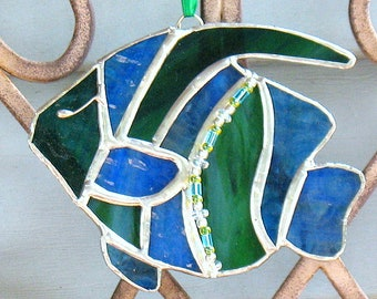 Stained glass blue and green angelfish sealife suncatcher, birthday gift, window hanging ocean beach house seaside tropical ornament