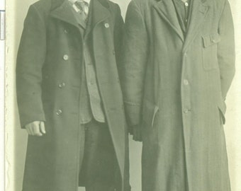 The Brothers Young Men in Oversized Coats Antique RPPC Real Photo Postcard Photograph Black White Photo