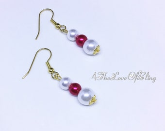 Elegant Cherry Red and White Triple Pearl Drop Earrings, Bridesmaid Gifts, Bridal Jewellery, Gold plated dangle red and white pearl earrings