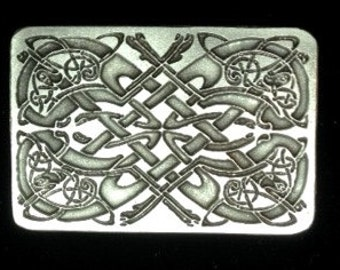 Four Dog Celtic Knot-work Rectangular Brooch Pin - etched figures