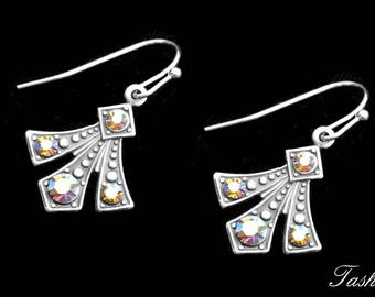 Art Deco and Swarovski Crystal Earrings, Dangle Victorian Jewelry