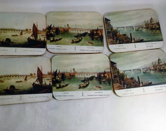 Set Of 6 Rectangular Coasters Depicting Water Scenes Of French Bridges/ Great Used Condition (U)