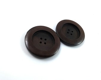 Brown Plastic Sewing Button - set of 2 Vintage sewing buttons 37mm