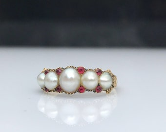 Antique ~ Georgian ~ Pearl and Paste ~ 18ct Gold Ring ~ size UK N or US 6.5