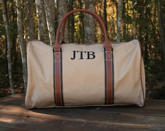Mens Monogrammed Tan Canvas Weekend Bag Personalized Overnight Bag