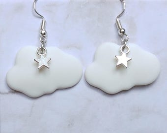 Cloud polymer clay and Silver Star charm earrings
