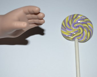 """Grape stripe lollipop for 18"""" dolls such as American Girl and My Generation"""