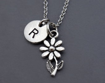 Daisy necklace, flower charm necklace, Daisy flower, silver daisy charm, Silver Daisy jewelry, initial necklace, personalized, monogram