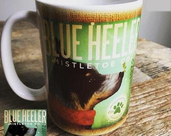 Australian Cattle Dog blue heeler mistletoe holiday dog coffee mug graphic art MUG 15 oz ceramic coffee mug