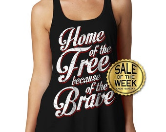 4TH Of JULY SHIRT WOMEN - Racerback - Home of the Free - Memorial Day - Ladies Tank - Usa - American Flag - Independence Day - s -  xxl