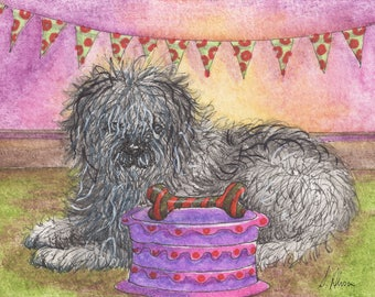Old English Sheepdog 8x10 inch art print by Susan Alison bobtail OES Dulux dog happy birthday cake party bunting bone present wrapped shaggy