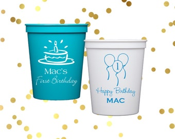 First birthday party cups, personalized birthday cups, Kids birthday party, Personalized stadium cups, party cups, personalized party favor