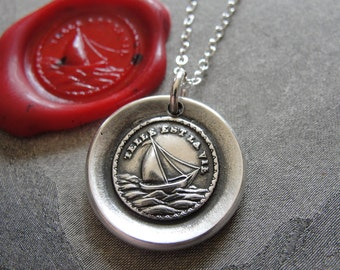 Such Is Life Wax Seal Necklace - antique wax seal charm jewelry Sail Boat French motto by RQP Studio