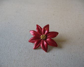 red poinsettia Christmas pin
