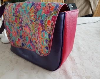 Liberty flap Messenger bag feather faux Fuchsia and purple