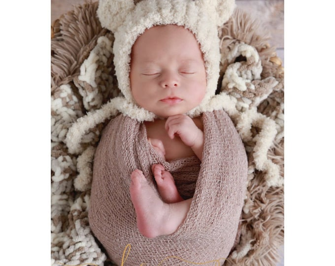 Boy's swaddle wrap and bear hat, choose from 3 colors, perfect for a boy's newborn blanket for a photo shoot by Lil Miss Sweet Pea