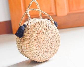 Top handle bag • Straw bag • Weaving seagrass(water hyacinth) • handmade with knitting strap • boho bag