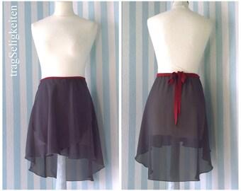 Dark grey ballet wrap skirt, ballet chiffon skirt, dancewear, ballet clothing, dance apparel, tapered ballet skirt, adult dance skirt, MT2DG