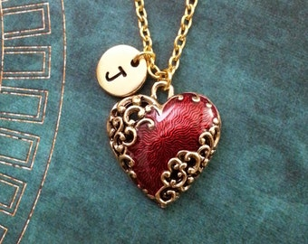 Red Heart Necklace Gold Heart Charm Necklace Personalized Jewelry Filigree Heart Jewelry Valentine's Day Necklace Ornamental Heart Pendant