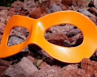 Orange Domino Mask - Pointed Edge Molded Leather Mask - Superhero Cosplay Costume Mask