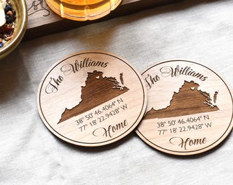 Custom Coordinates Wood Drink Coasters. Latitude Longitude State Coasters Set. Personalized Gift for Her, Wedding Gift (Set of 4)