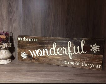 Winter Sign Snowflakes Wood Sign Stained Sign Wall Hanging Wonderful Time Word Sign