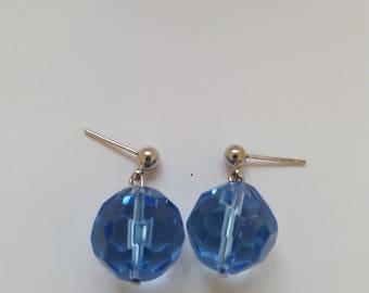 Women's Blue Earrings, Light Blue Earrings, Short Dangle Earrings, Blue Post Earrings, Lightweight Earrings, Blue Bead Earrings