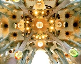 Kaleidoscope - Gaudi, Sagrada Familia, Cathedral Ceiling, Spain Photography, Spanish Church, Barcelona Architecture, Beautiful Church Art