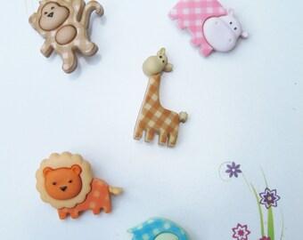 Baby Safari Giraffe Lion Elephant Hippo Monkey Buttons  Set of 5