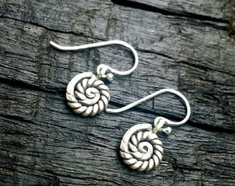Hill Tribe Silver spiral tribal earrings