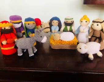 5- to 13-piece Nativity Set - Handmade, Crocheted