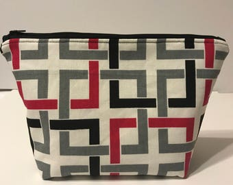 Large Cosmetic Bag, Geometric Zippered Pouch, Make up Bag Large, Pink and Black Zippered Pouch, Gift for her, Travel Bag, Large Toiletry Bag
