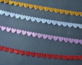 Glittery heart trim, choose your colour, 3m (3.3yard)