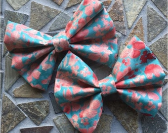 Peach and Turquoise Spring Floral Hair Bow Set Of 2