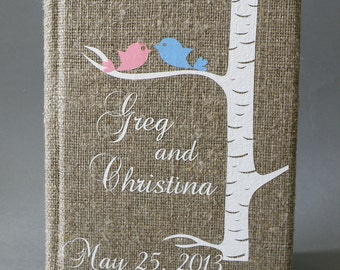 Wedding Guest Book / Wedding Book / Rustic Wedding Guest Book /  Linen Guest Book Size 6.1 inches X 8.3 inches White birch tree and birds