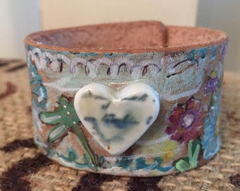 Flora Style- Tooled and Painted Leather Cuff