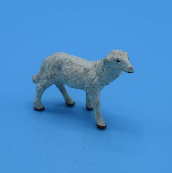 Chalkware Japan Standing Sheep Vintage White Plaster Lamb Figurine Nativity Animal Replacement Figurine Miniature Lamb Sheep Christmas Decor