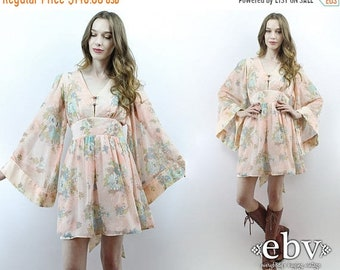 Angel Sleeve Dress Bell Sleeve Dress Hippie Wedding Dress Hippie Dress Hippy Dress 1970s Dress 70s Dress Boho Dress Festival Dress S