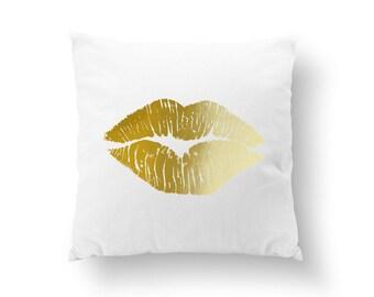 Lips Pillow, Kiss Pillow, Home Decor, Makeup Pillow, XO, Cushion Cover, Throw Pillow, Bedroom Decor, Modern Pillow, Bed Pillow, Gold Pillow.