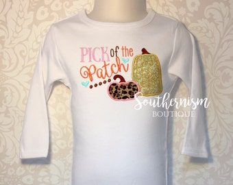 Girls Pumkin Shirt, Girls Fall Shirt, Personalized Thanksgiving, Fall Shirt, Turkey, Boutique, girls thanksgiving, Pick of the Patch