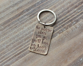 Hand Stamped Custom Message Keychain - Vintage Brass Keychain - Personalized Keychain - Gift for Him